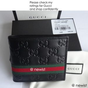 Gucci Black green and red Web Strip Bi fold Wallet